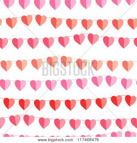 Festive seamless pattern with hanging hearts cut from paper.  Endless texture for your design, greeting cards, wedding announcements, posters.