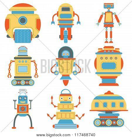 Set of vintage robots.