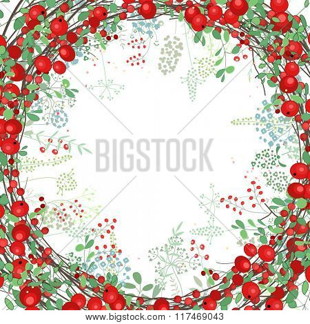 Square frame with contour berries and herbs on white. Floral pattern for your summer design, floral greeting cards, posters.