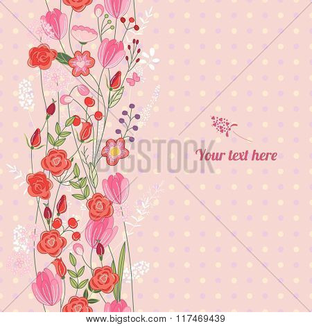 Floral spring template with cute bunches of wild roses. For romantic and easter design, announcements, greeting cards, posters, advertisement.
