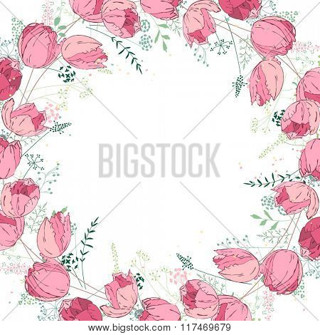 Floral abstract square template with stylized herbs and pink tulips.  Silhouette of plants.