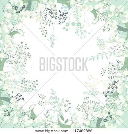 Square frame with contour  herbs and convallaria on white. Pattern with flowers for your spring design, floral greeting cards, posters.