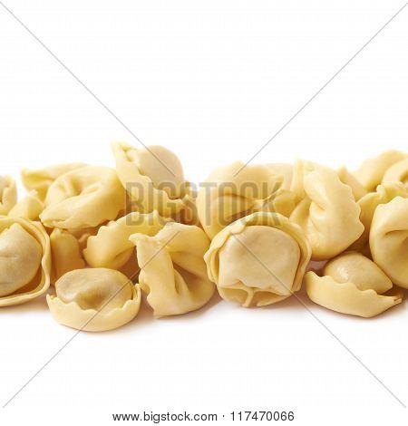 Line of ravioli dumplings isolated