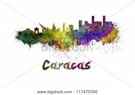 Caracas Skyline In Watercolor