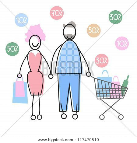 Couple Shopping Man and Woman Walking with Bags Cart