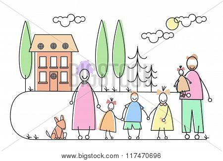 Big Family Parents Four Children Pet House Estate