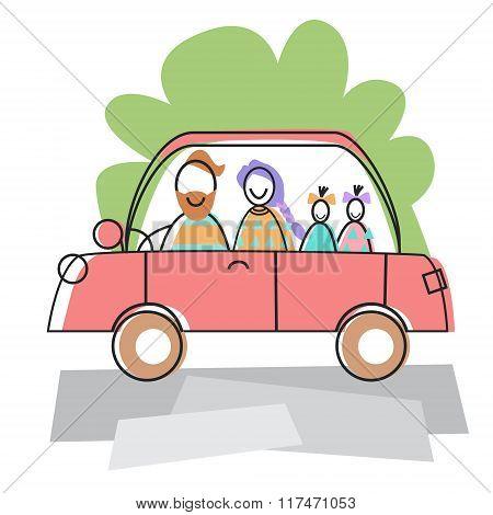 Happy Family Parents Two Children Car Drive Travel