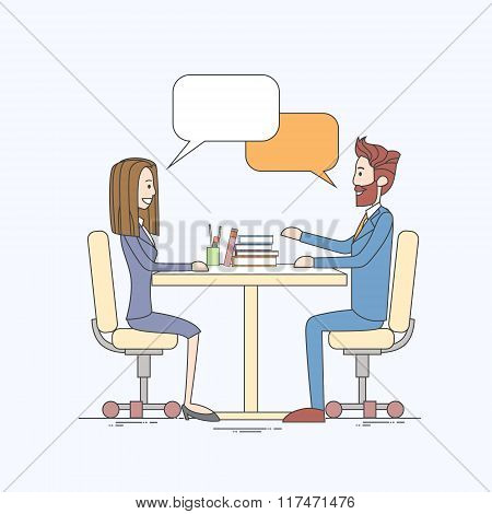Business People Man and Woman Talking Discussing Communication Sitting at Office Desk Bubble Chat Bo
