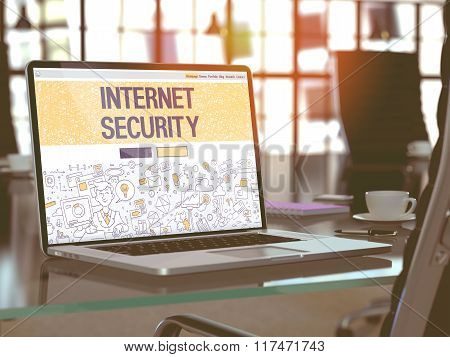 Internet Security Concept on Laptop Screen.