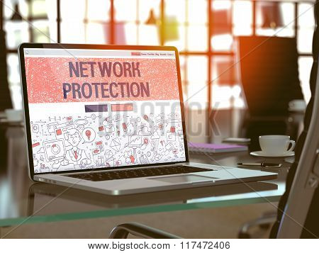 Network Protection Concept on Laptop Screen.