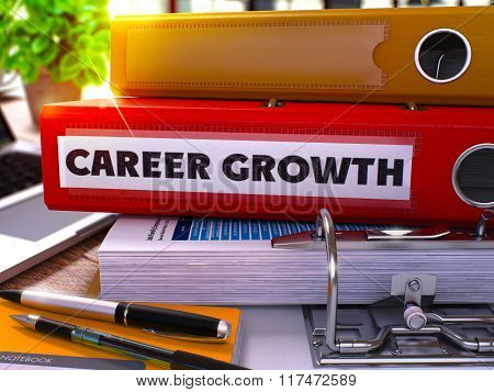 Red Ring Binder with Inscription Career Growth