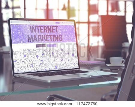 Internet Marketing Concept on Laptop Screen.