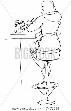 Sketch Of A Girl Sitting At A Table In A Cafe On A High Chair With His Back To Us
