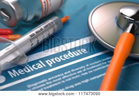 Medical Procedure on Blue Background.