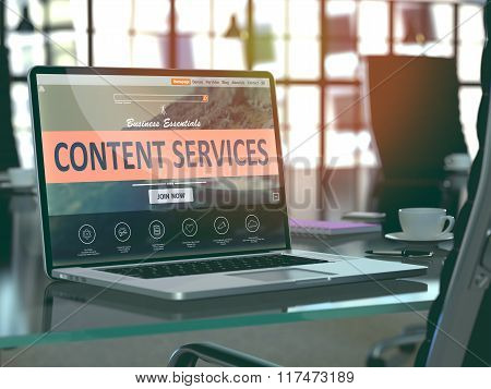 Laptop Screen with Content Services Concept.
