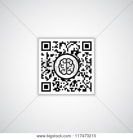 QR code with human brain icon