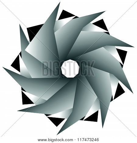 Abstract Monochrome Spirally, Rotating Element Isolated On White Background