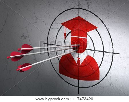 Science concept: arrows in Student target on wall background