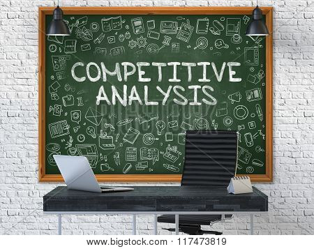 Competitive Analysis Concept. Doodle Icons on Chalkboard.