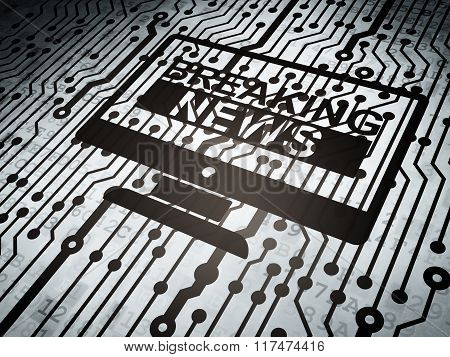 News concept: circuit board with Breaking News On Screen
