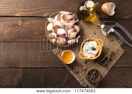 Garlic Dip In A Cute Bowl
