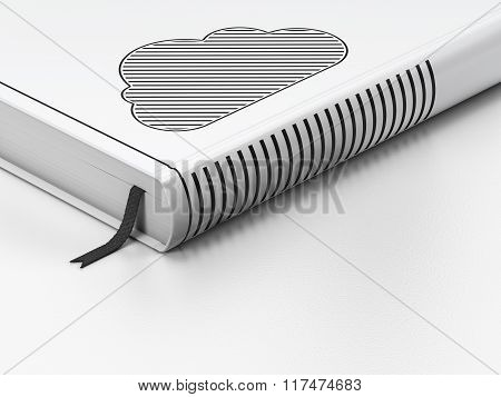 Cloud technology concept: closed book, Cloud on white background