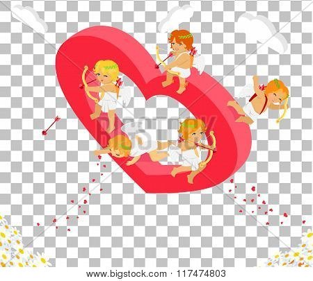 Valentines Day 3d Isometric Angels with Bow