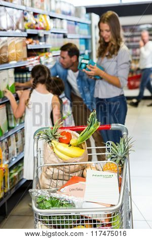 View of filled shopping cart with family in background