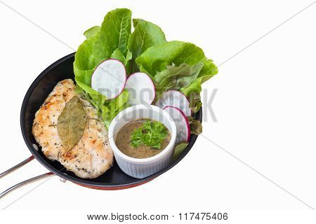 Isolated On White Background With Clipping Path Of Selective Focus Of Chicken Steak With Black Peppe