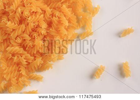 Yellow Pasta On A White Background