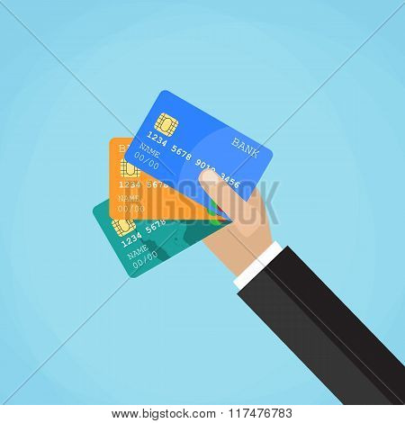 Businessman hand holding credit card