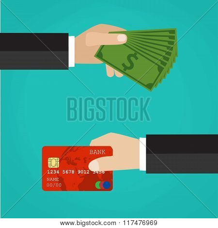 Hand with credit card and hand with cash.