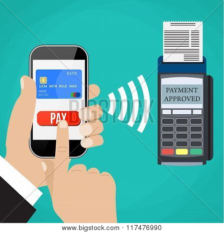 Pos terminal confirms the payment by smartphone.