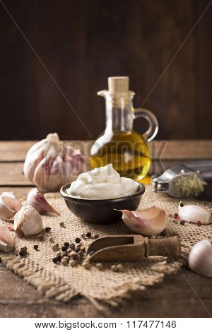 Aioli Dip On Wooden Background