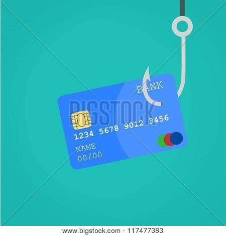 Data Phishing credit or debit card on fishing hook