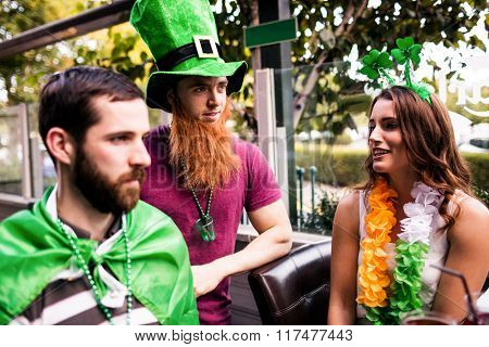 Friends celebrating St Patricks day outside