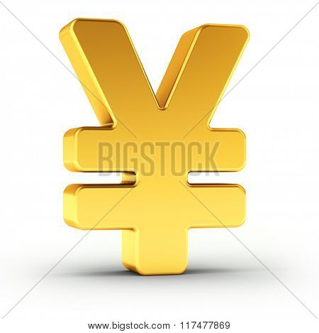 The Yen symbol as a polished golden object over white background with clipping path for quick and accurate isolation.
