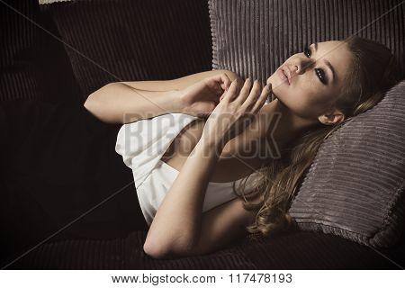 Sweet Portrait Of Dreaming Girl