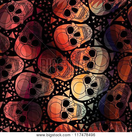 Skull with polygonal ornament.Halloween.Seamless abstract pattern with zigzag  lines.Aurora skull