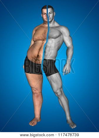 Concept or conceptual 3D fat overweight vs slim fit with muscles young man on diet on blue background