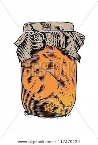 Glass Jar With Marinated Tomatoes