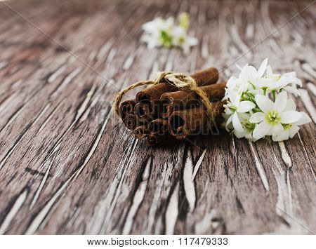Bundle of cinnamon with nuts and flowers