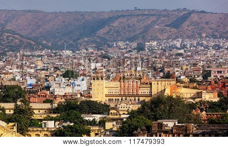 Aerial panorama view of Jaipur town and Hawa Mahal palace (Palace of the Winds), Jaipur, Rajasthan