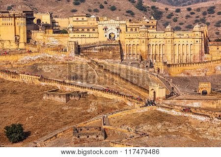Famous Indian tourist destination  Amer (Amber) fort, Rajasthan, India