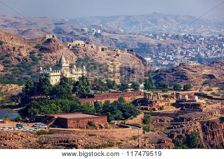 Aerial view of tourist landmark of Jodhpur - Jaswanth Thada mausoleum, Jodhpur, Rajasthan, India