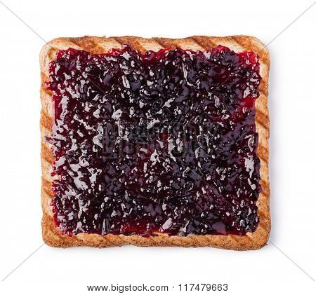 jam on a slice of Toast. Isolated on a white background