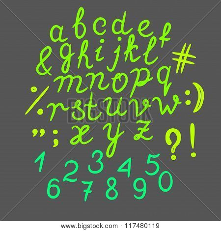 Hand drawn font alphabet vector illustration Funny colorful doodle font set of ABC letters Typograph