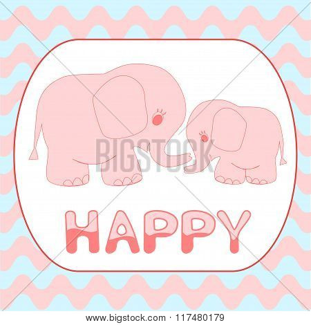 Baby shower invitation card Cartoon pink baby elephant card template Mother and baby animals on Wavy