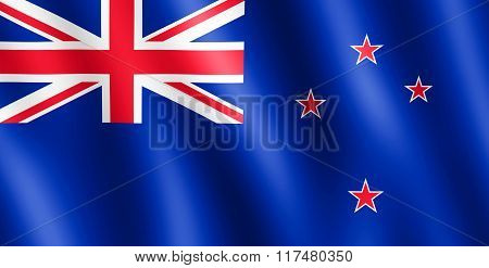 Flag of New Zealand waving in the wind giving an undulating texture of folds in the fabric. The Image is in the official ratio of the flag - 1:2.