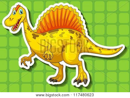 Yellow dinosaur with sharp teeth